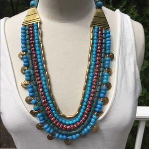Malik NYC Blue Beaded Necklace